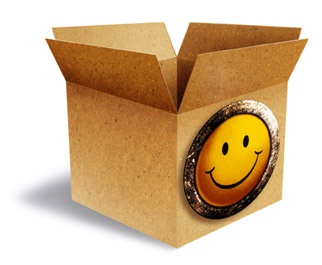 Image of a large cardboard box with open top and giant happy-face printed on the side