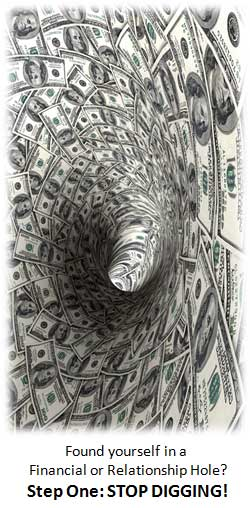 Image of Money spiral into a tunnel or hole