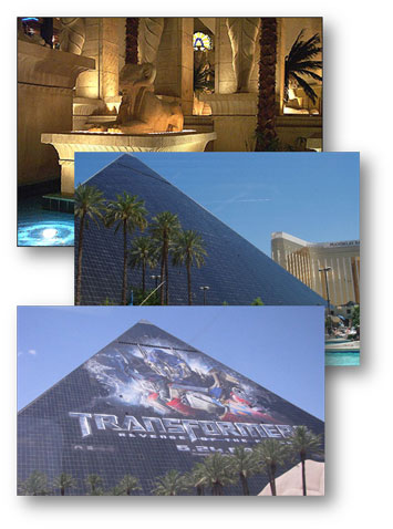 series of three images of the modern Pyramid in Las Vegas